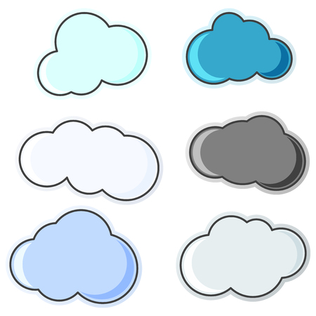 A group of cloud icons of various shapes and colors. Isolated vector illustration on white background
