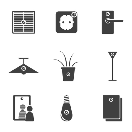 Set of hidden camera icons in various places of office and home interior. Vector on white background