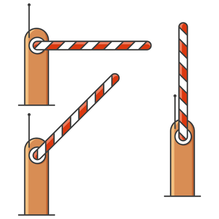 The barrier icon in three positions - closed, open and average. Vector illustration on white background