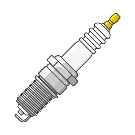 Icon car spark plug. Isolated vector illustration on white background Vettoriali