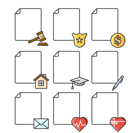 Set of blank documents icons for various services, institutions and structures. Color vector illustration on a white background  イラスト・ベクター素材