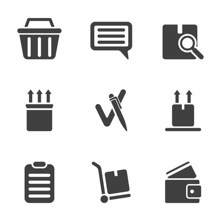 A set of icons from the order to the moment of leaving feedback after receiving it. Isolated vector on white background Иллюстрация