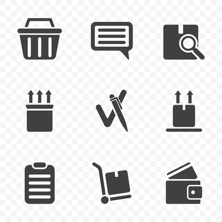 A set of icons from the order to the moment of leaving feedback after receiving it. Isolated vector on transparent background