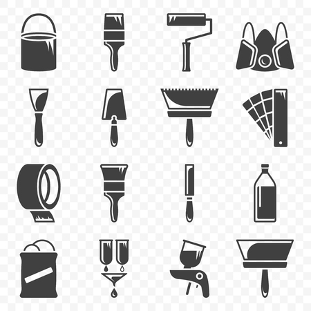 Set of icons related to painting and paint work. Vector on transparent background