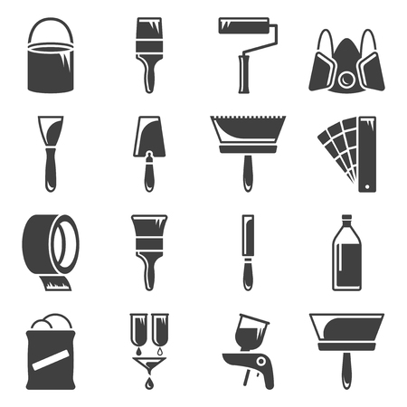 Set of icons related to painting and paint work. Vector on white background Illusztráció