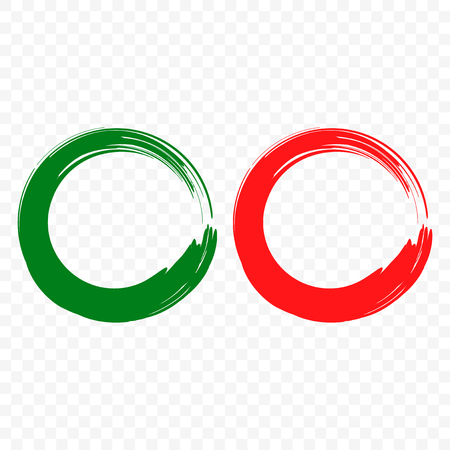Acceptance and rejection symbol vector buttons for vote, election choice. Circle brush stroke borders. Symbolic OK and X icon isolated on white background. Green circle - the agreement, Red circle - a failure