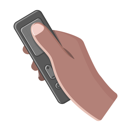 Icon hand holds touch remote control. Vector illustration on white background