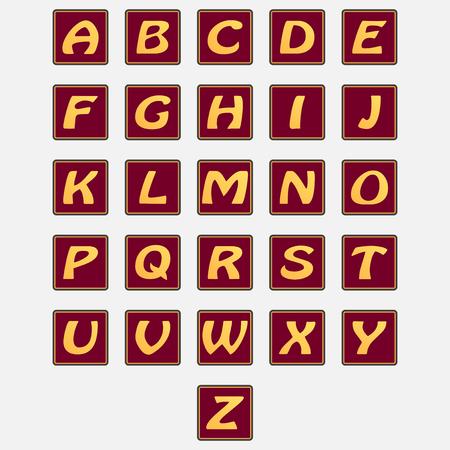 Angielski alfabet. Kompletny zestaw liter w stylowych oprawkach. Wektor na białym tle