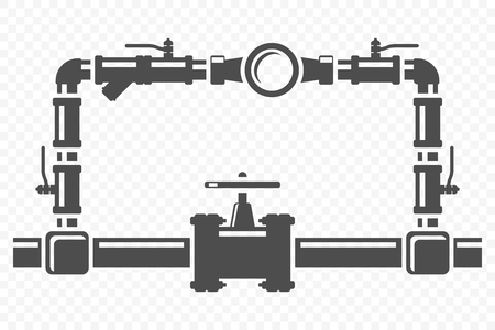 Icono del sistema de bypass del contador de agua. Vector sobre fondo transparente