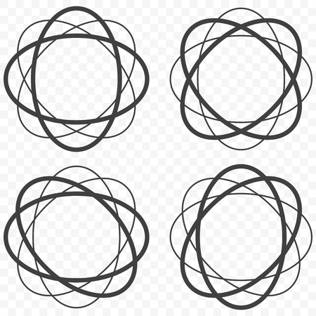 A set of four different trajectories, the movement of electrons and protons in the atomic field. Vector on transparent background