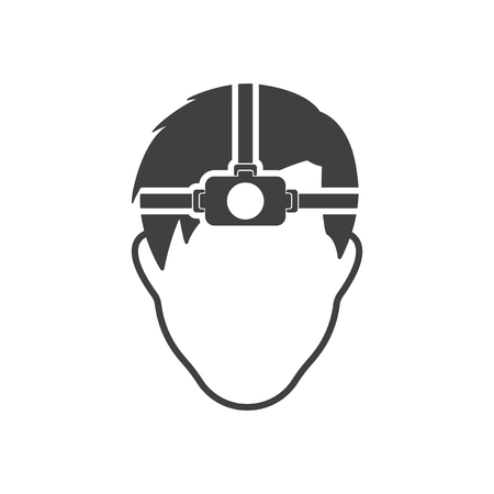 The mans face with a flashlight on his forehead. Vector on white background Ilustrace
