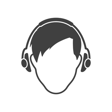 The mans face with headphones. Vector on white background