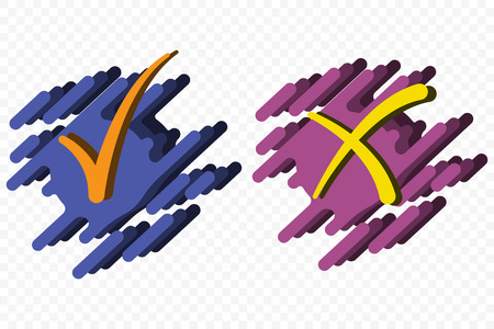 Acceptance and rejection symbol vector buttons for vote, election choice. Symbolic OK and X icon isolated on a transparent background. Tick and cross signs, checkmarks design