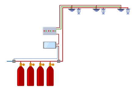 Automatic fire extinguishing system. Autonomous complex. Vector illustration on white background