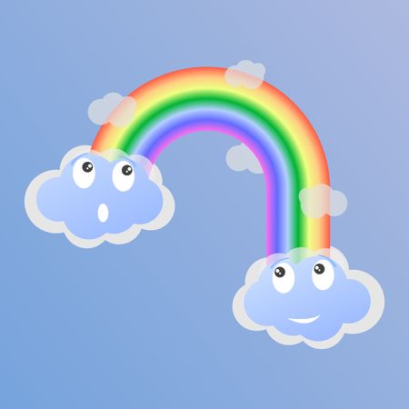 Surprised and joyful clouds and a rainbow between them. Vector illustration