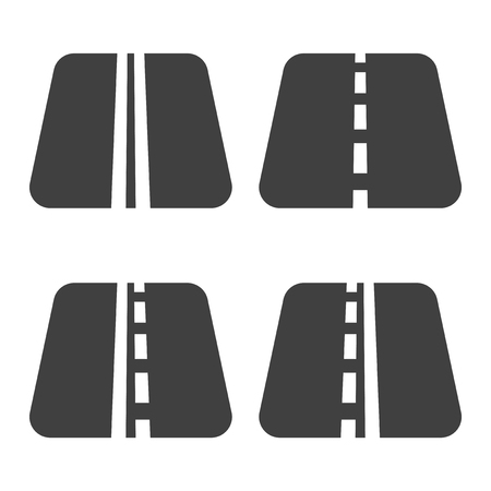 A set of four road icons with lanes markings. Vector on white background Vektorové ilustrace