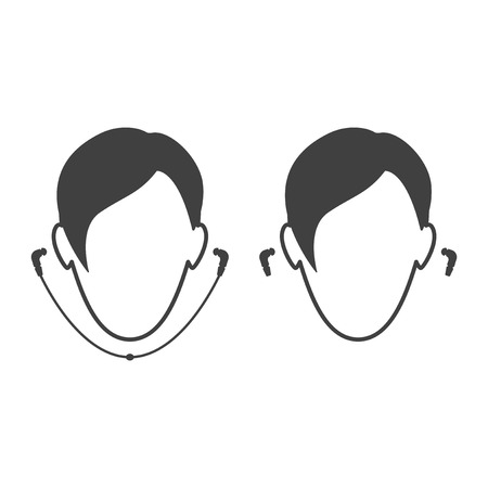 Icon people wearing headphones. Wired and wireless headset