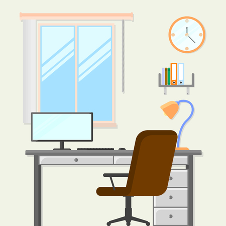 Room with table, chair and computer. Workplace. Vector illustration