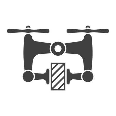 Icon delivery of cargo quadcopter. Vector on white background Illustration