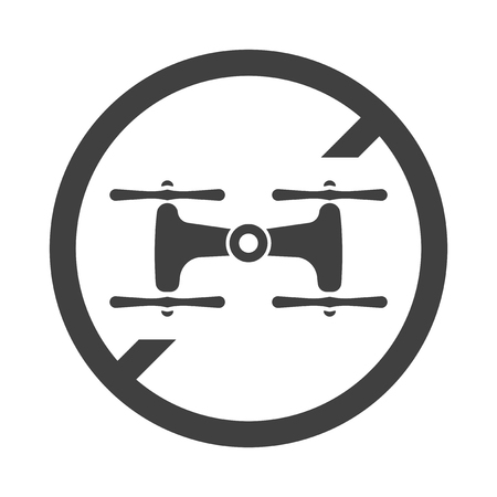 Icon ban on flying drones. Vector on white background