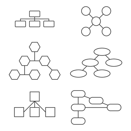 A set of variants for a hierarchical tree. Vector on white background
