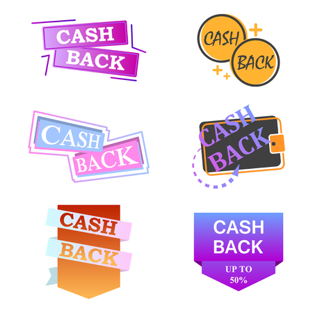 Multicolored cash back icon collection. Vector illustration on white background