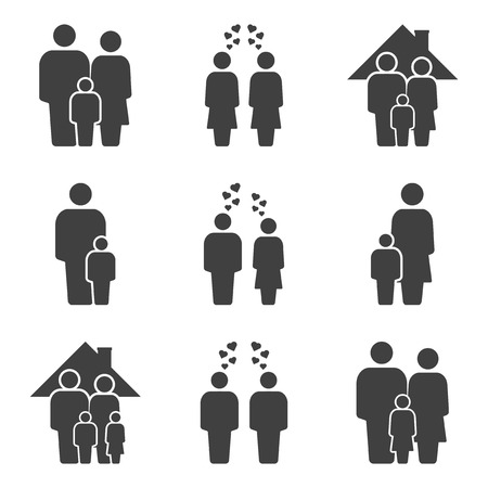 Set of family icons. Different variants of marital status. Vector on white background