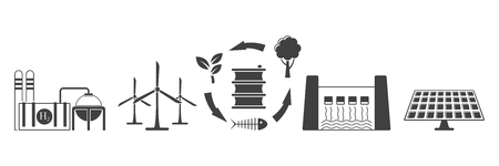 Set of environmentally friendly energy extraction icons. Vector on white background Standard-Bild - 124952381