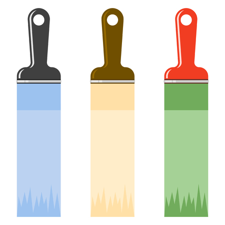 Icon of multi-colored paint brushes. Vector illustration of a white background
