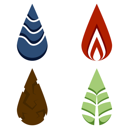 Logos of the four elements - water, fire, earth, nature. Vector illustration on white background