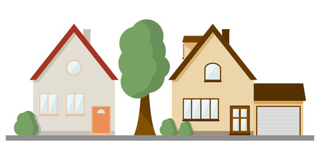 The image of two different private two-story houses on the same line. Vector illustration on white background Stock Illustratie