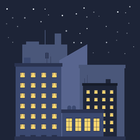 Night city. Image of houses with the included light in the apartments. Silhouettes of houses behind the main houses. Vector illustration on white background