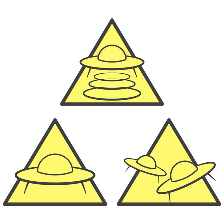 Three UFO warning icons - abduction, attack and arrival area. Vector on white background
