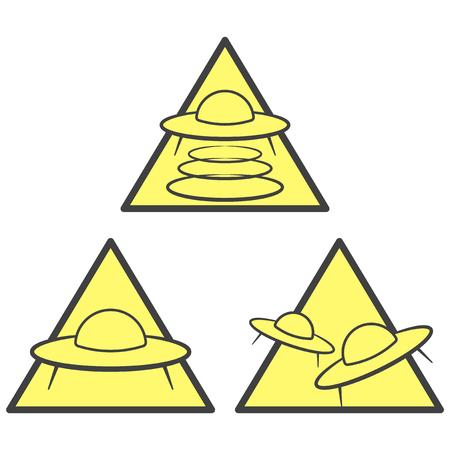 Trois icônes d'avertissement d'OVNI - zone d'enlèvement, d'attaque et d'arrivée. Vecteur sur fond blanc