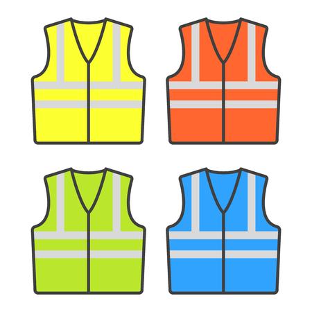 Construction alarm vests of different colors. Set of four vests. Vector illustration on white background Ilustração