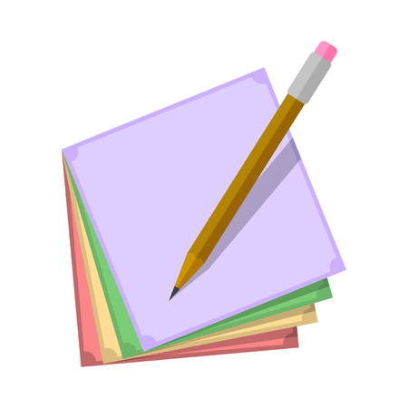Stickers for notes of different colors with a pencil over them. Vector illustration on white background Imagens - 124952452