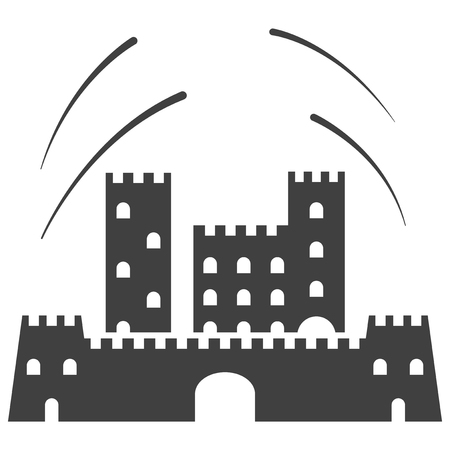 Icon old castle. Vector on white background