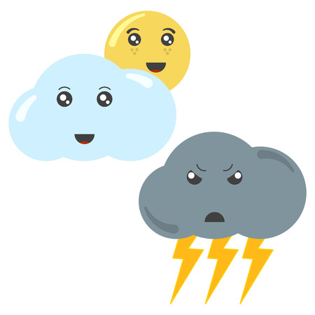 Cartoon cloud with the sun and a thundercloud with lightning. Isolated vector illustration on white background Banco de Imagens - 124952491