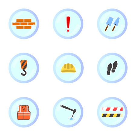 Set of construction icons in round frames. Vector on white background