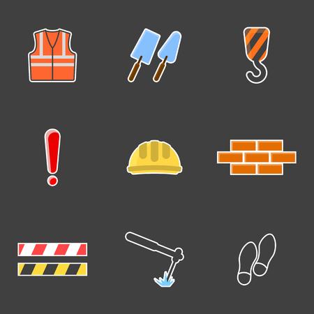 Set of construction icons. Vector on white background Ilustração