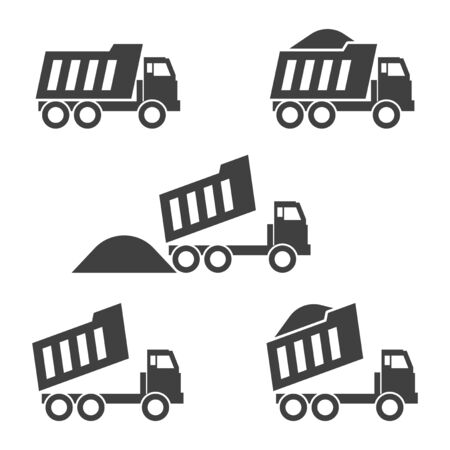 Dump truck icons set. Vector on white background