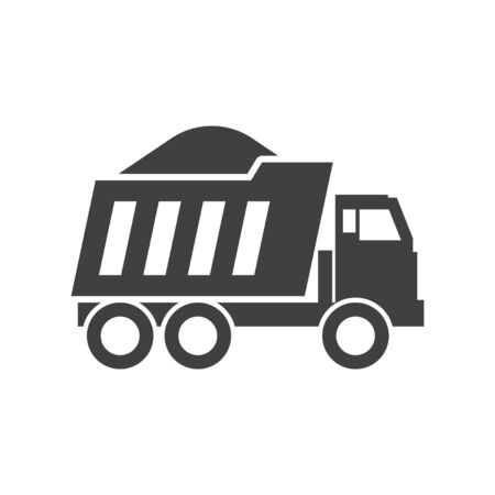 Dump truck icon. Vector on white background