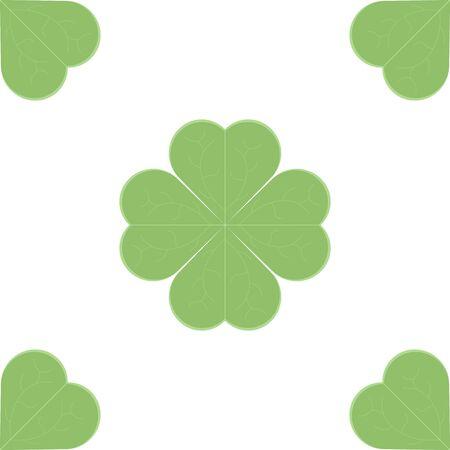 Clover leaf icon. Seamless pattern. Vector illustration on white background Иллюстрация