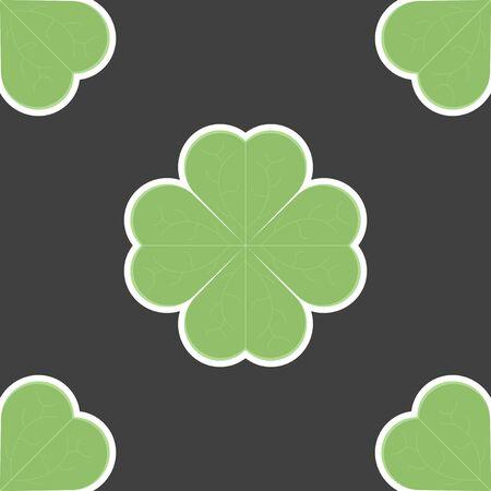 Clover leaf icon. Seamless pattern. Vector illustration on black background