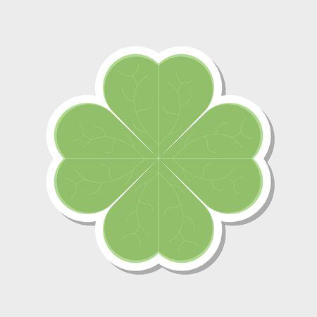 Clover leaf icon. Sticker. Vector illustration on white background Иллюстрация