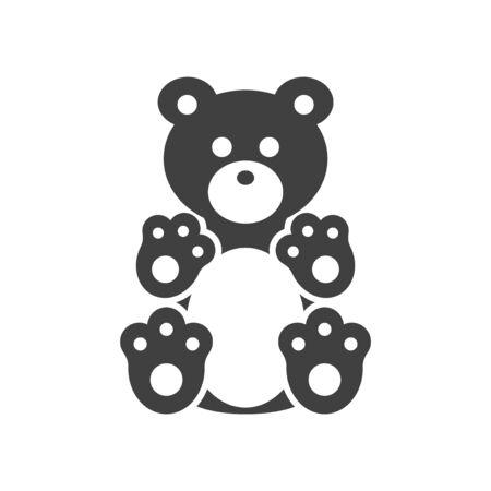 Plush bear icon. Vector on white background Иллюстрация