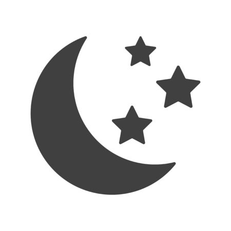 Icon moon with stars. Vector on white background Ilustrace
