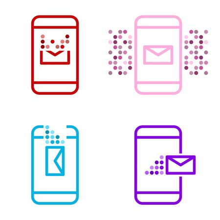A set of four multi-colored message icons on a mobile device. Receive, send, delete and alert. Vector on white background Çizim