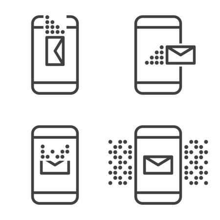 A set of four message icons on a mobile device. Receive, send, delete and alert. Vector on white background Çizim