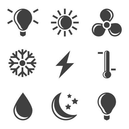 Set of icons of the remote control cooling system and air conditioning. Vector on white background